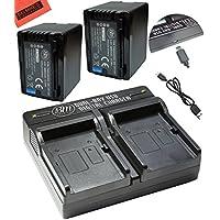 BM Premium 2-Pack of VW-VBT380 Batteries and Dual Battery Charger for Panasonic HCV380, HCV510, HCV520, HCV550, HC-V710, HC-V720, HC-V750, HC-V770, HC-VX870, HC-VX981, HC-W580, HC-W850, HC-WXF991