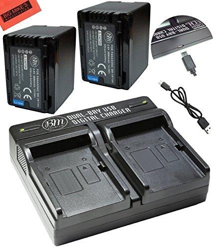 BM Premium 2 VW-VBT380 Batteries and Dual Charger for Panasonic HC-V800K, HC-VX1K, HC-WXF1K, HCV510, HCV520, HCV550, HC-V710, HC-V720, HC-V750, HC-V770, HC-VX870, HC-VX981, HC-W580, HC-W850, HC-WXF991