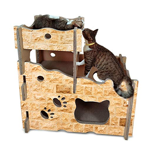Cat Bed or Sofa hyx CP-199 Castle Style Cat Litter Corrugated Paper Cat Scratch Board Grinding Claw Toy