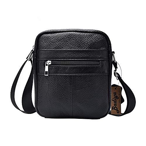 Leather Mini Messenger Bag - Badiya Men's Fashion Genuine Leather Mini Messenger Cross Body Bag Shoulder Bag (Style 4)