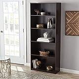 Mainstay Walnut 3-Shelf Wood Bookcase with Elegant Honeycomb Vase (Espresso, 5-Shelf Standard)