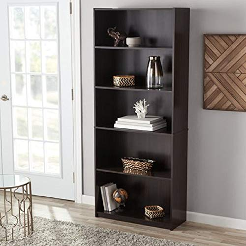 - Mainstay` Orion Wide 5-Shelf Bookcase (Black, 5-Shelf) (Espresso, 5-Shelf Standard)