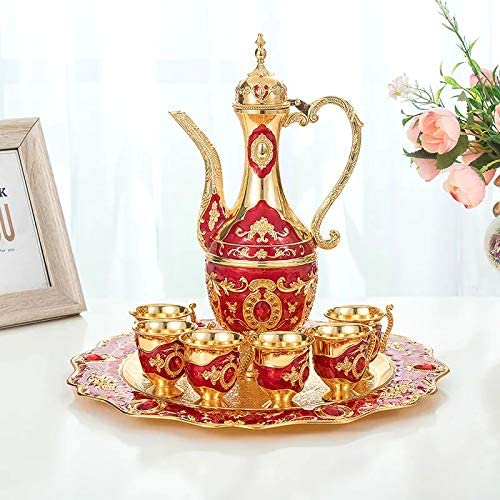 Thyggzjbs Vintage Turkish Coffee Pot Set for 6 including Tray & Teapot Silver Inset with Crystal Stones (Red)
