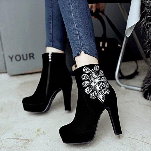 YE Damen High Heels Plateau Blockabsatz Wildleder Stiefeletten mit Glitzersteinen und Reißverschluss Elegant Herbst Ankle Boots Schuhe Schwarz
