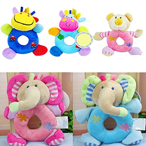 Set of 5 Baby Kids Animal Model Wrist Hand Bell Rattle Soft Plush Stuffed Educational - Hand Puppet Ernie Plush