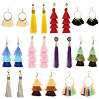 11 Pairs Tassel Earrings for Women Colorful Long Layered Thread Ball Dangle Earrings Yellow Red Fashion Jewelry Valentine Birthday Gifts Christmas