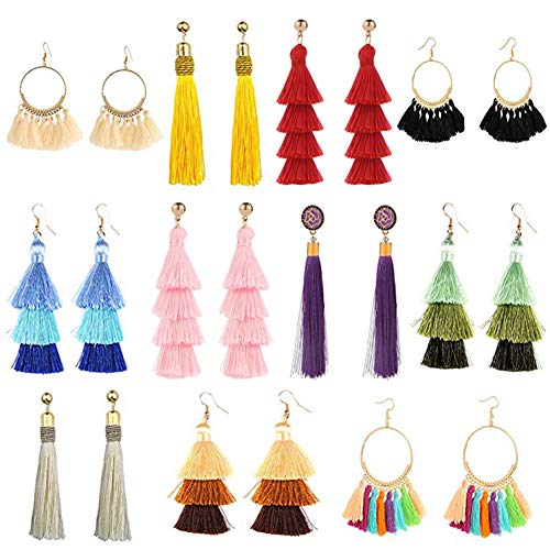 11 Pairs Tassel Earrings for Women Colorful Long Layered Thread Ball Dangle Earrings Yellow Red Fashion Jewelry Valentine Birthday Gifts Christmas ()