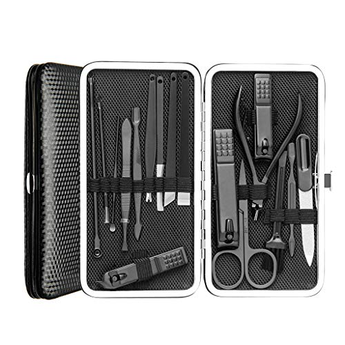(Manicure Pedicure Set Nail Clippers 17 Piece Stainless Steel Nail Kit & Professional Grooming Kit with Black Leather Travel Case)