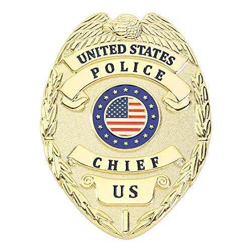 AKITSUMA Toy Police Badge, Metal Gold Police Office Badge for Kids, Prop Cop Badge for Police Costume Dress Up, US-AKI-26 (Gold Police Badge)