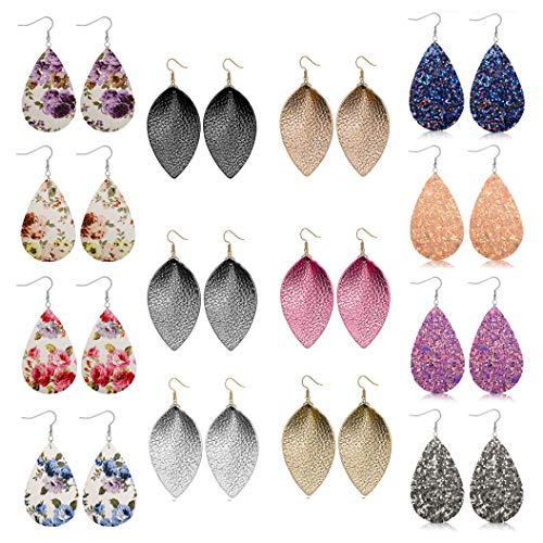 FIBO STEEL 14 Pairs Leather Drop Earrings for Women Girls Lightweight Boho Teardrop Dangle Earring Set
