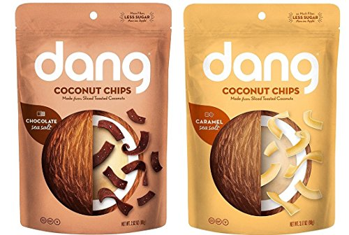 Dang Gluten Free Non-GMO Toasted Coconut Chips 2 Flavor Variety Bundle, 1 Each: Chocolate Sea Salt, and Caramel Sea Salt (2.82-3.17 Ounces) (Caramel Chocolate Chips)
