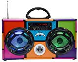 Mini Boombox with LED Speakers -Retro Bluetooth Speaker w/Enhanced FM Radio - Perfect for Home and Outdoor (Retro Multi)