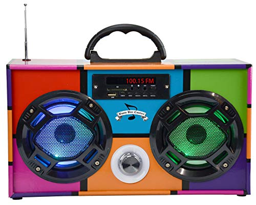 Mini Boombox with LED Speakers - Retro Multi Colored -