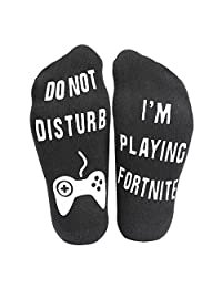AngelLoverMVPstore Funny Ankle Cotton Socks –Do Not Disturb, I'm Playing Fortnite, Great Gift for Game Players and Fortnite Lovers (1 Pair, Black)