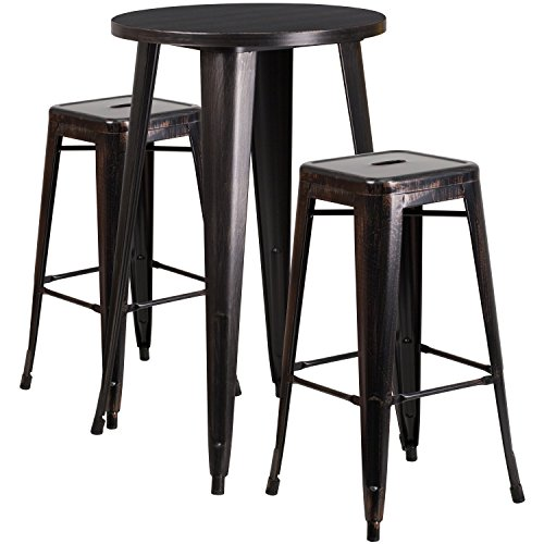 Flash Furniture 24'' Round Black-Antique Gold Metal Indoor-Outdoor Bar Table Set with 2 Square Seat Backless Stools by Flash Furniture
