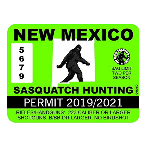 "RDW New Mexico Sasquatch Hunting Permit - Color Sticker - Decal - Die Cut - Size: 4.00"" x 3.00"""