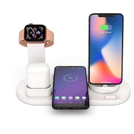 FOONEE 6 en 1 Estación Carga Rápida Qi Inalámbrica Soporte Carga, Cargador Inalambrico para Apple Watch Series 4/3/2/1, iPhone XS MAX XR X 8, AirPods, ...