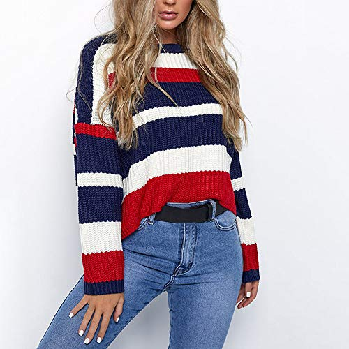 Liraly Sweatshirts For Women New Fashion Women Winter Fashion Long Sleeve Knitted Patchwork Tops Loose Sweater Blouse Shirt Blouses(Red ,US-8 /CN-L) by Liraly (Image #1)