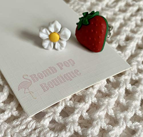 Mix and Match Strawberry Patch Dollhouse Miniature Stud Earrings - Gift for Her - Strawberry Fields Forever - Upcycled Flower Button Ears ()