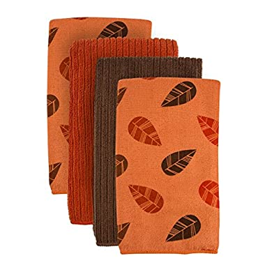 DII Cleaning, Washing, Drying, Ultra Absorbent, Microfiber Dishtowel 16x19  (Set of 4) - Orange Leaves