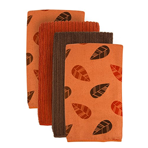 DII Microfiber Cleaning Towels Perfect for Kitchens, Dishes, Car, Dusting, Drying Rags, 16 x 19, Set of 4 - Orange Leaves