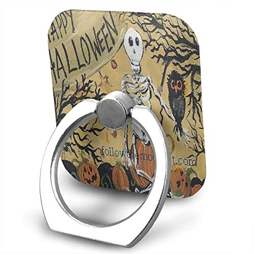 Ring Holder Happy Halloween Sitting Owl Pumpkins Ring Mobile Phone Holder Adjustable Finger Grip Holder for IPad, Kindle, Phone X/6/6s/7/8/8 Plus/7, Galaxy S9/S9 Plus/S8/S7 Android -