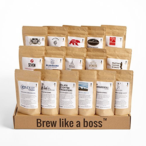 Bean Box Seattle Deluxe Coffee Tour Gourmet Sampler - (whole bean, 16 roasts, 16 roasters, personalized gift note, coffee gift basket, Christmas gift, holiday gift)