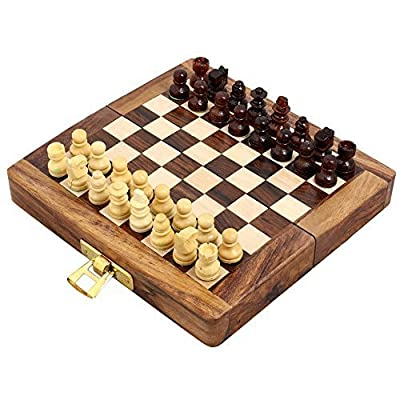 "Handcrafted Wooden Folding Magnetic Chess Set - Wood Travel Games - 5"" x 2.5"" - Great Gifts for Kids and Adults"