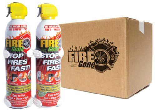 Fire Gone (2-FG-7209-16PK) 2 Fire Suppressant with Bracket - 16 oz., (Pack of 12) Afff Foam Fire Extinguisher