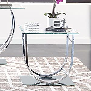 Coaster Glass Top End Table In Chrome Kitchen