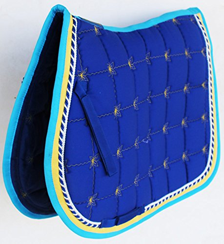 Professional Equine Horse Quilted English Saddle PAD Trail All Purpose Turquoise Blue ()