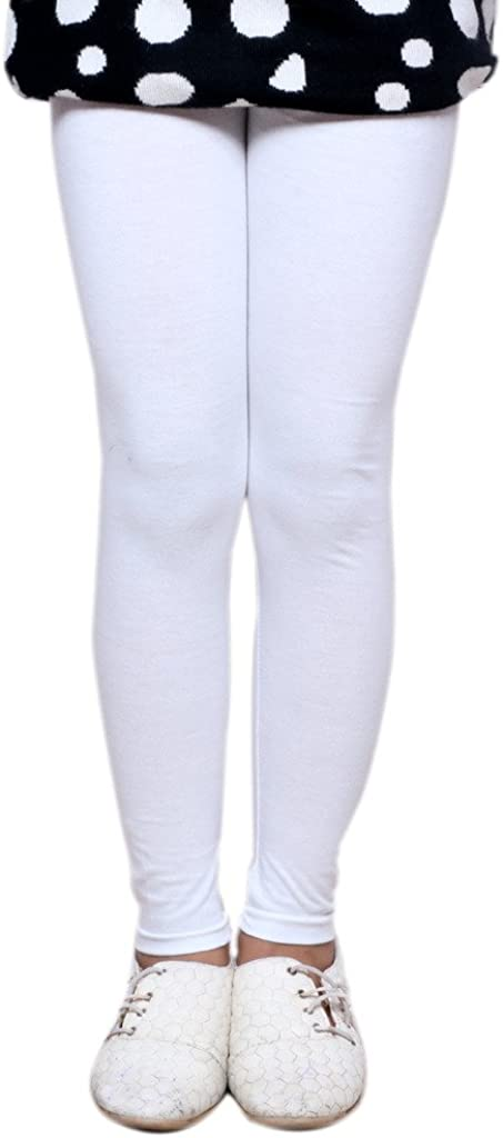 Indistar Little Girls Cotton Full Ankle Length Solid Leggings -Multiple Colors-3-5 Years Pack of 9