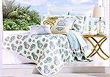 Nicole Miller Coastal 3pc Full/Queen Quilt Set Blue Aqua Teal Gray & White Seashells & Stripes