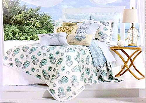 Nicole Miller Coastal 3pc Full/Queen Quilt Set Blue Aqua Gray & White Seashells & Stripes