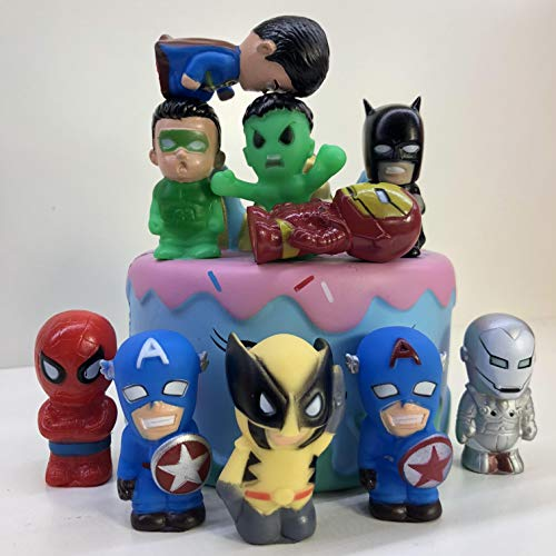 10PCS Super hero Cake Topper, Avengers League Cupcake Toppers for Kids Birthday Party Cake Decoration Supplie]()
