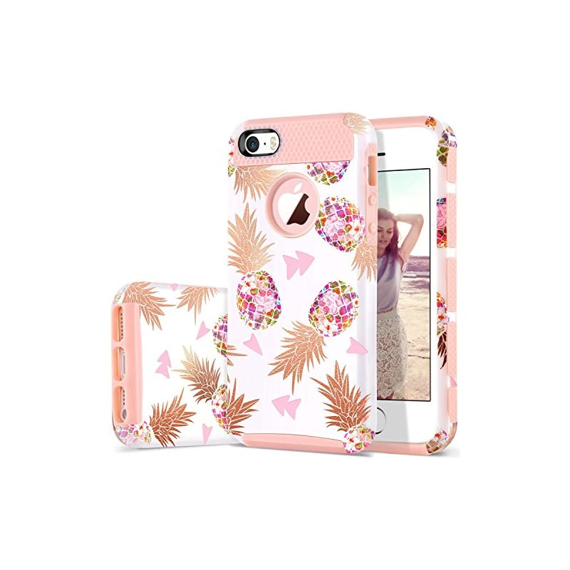 DUEDUE Case Compatible iPhone SE/Phone 5S /iPhone 5, Slim Flower Pineapple Design,Dual Layer Hybrid Shockproof Hard Back Bumper Protective Compatible iPhone SE/5S/5,Rose Gold