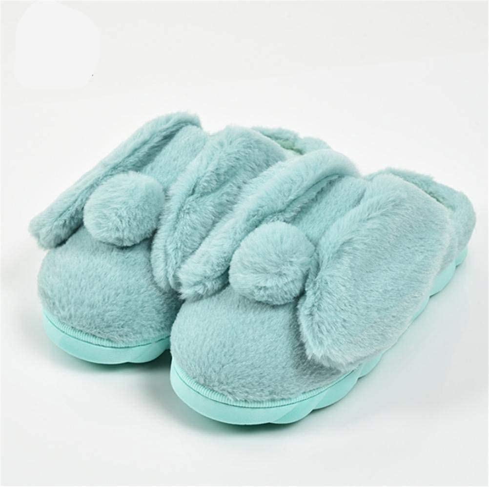 1 JaHGDU Indoor Home Ladies Casual Fall and Winter Light Pink bluee Keep Warm Slippers Plush Cartoon Rabbit Cotton Slippers
