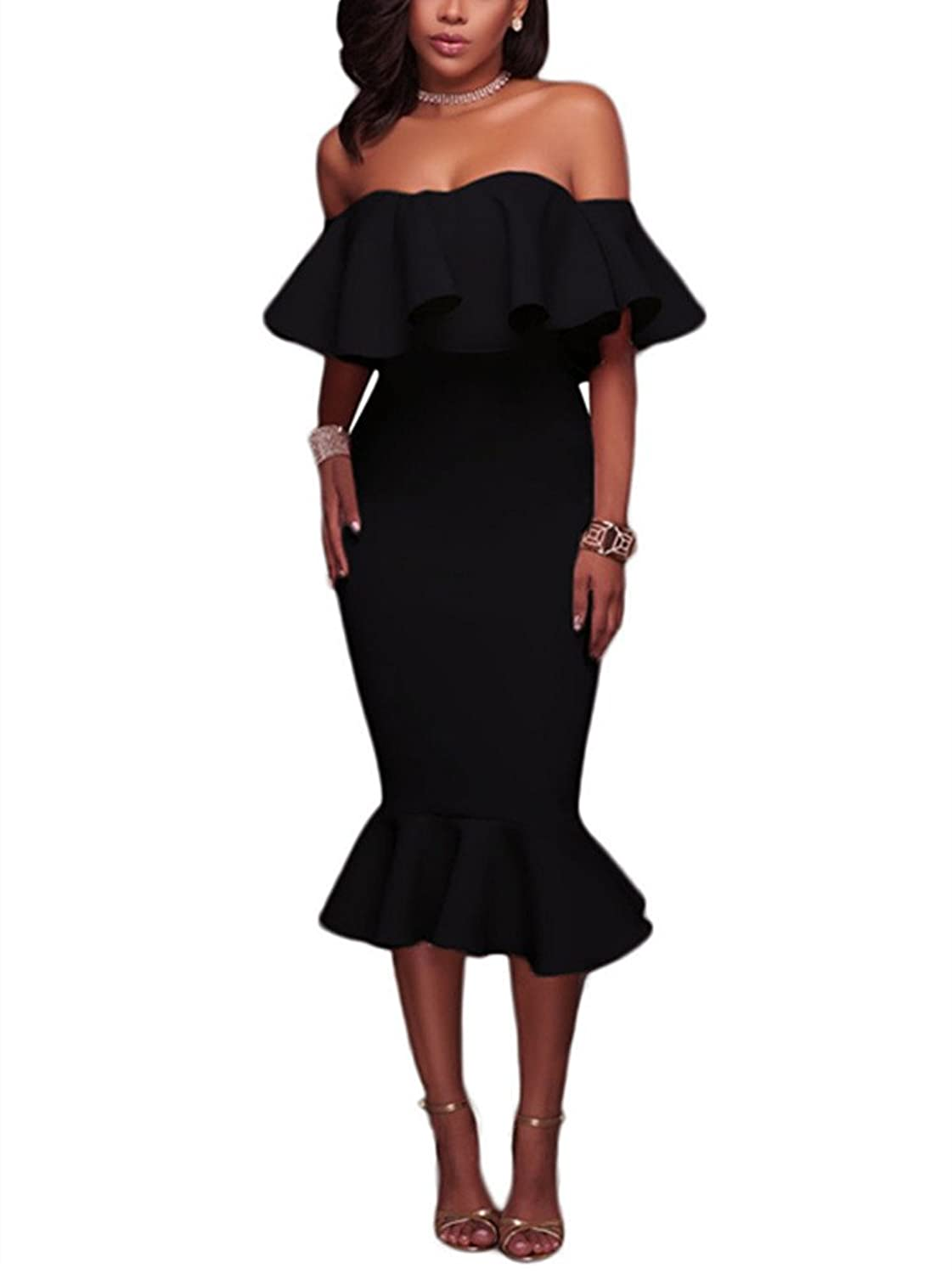dd9dcde1be7 High-stretch fabric perfect the curve-hugging fit. Finished with mermaid  hemline cut at midi length. Strapless off shoulder ...