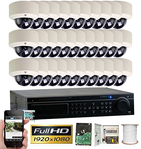 GW Security 32CH HD 1080p DVR Security System, QR-Code Connection, 32 Day Night 1920TVL High Resolution Weatherproof Dome Cameras CCTV Surveillance System 8TB Hard Drive (Up to 32TB)