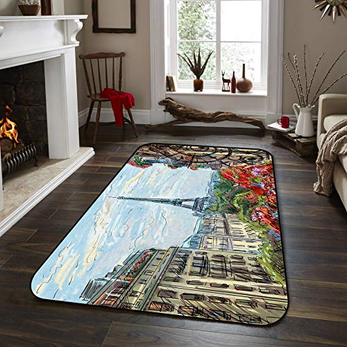 Fantasy Star Non-Slip Area Rugs Room Mat- Ancient Architecture of France The Eiffel Tower Home Decor Floor Carpet for High Traffic Areas Modern Rug Kitchen Mats Living Room Pads, 3' x 5'
