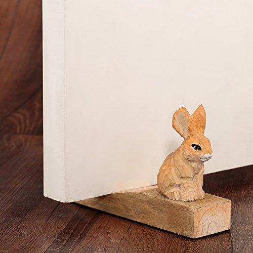Friendly House Wooden Animal Novelty Doorstop (Rabbit) - Friendly House