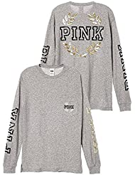 Victorias Secret Pink Campus Bling Long-Sleeve Tee, Gray/Gold Crest