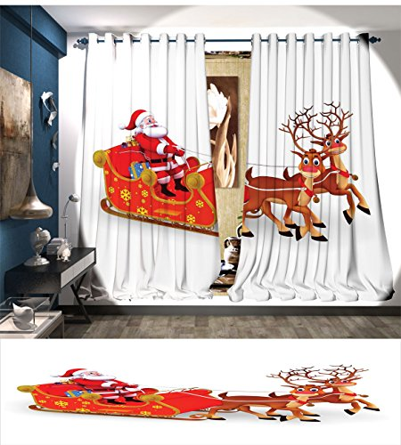 Davishouse Santa Patterned Drape For Glass Door Funny Cute Cartoon Style Reindeer Santa Claus with a Big Smile and Surprise Boxes Waterproof Window Curtain (Santa's Reindeer Make This Noise)
