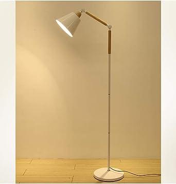 WB_L Lámparas de pie Lámpara de pie LED Protección para los ojos Lámpara de pesca Salón Dormitorio Estudio Lámpara vertical Arte de madera nórdica (color : Blanco): Amazon.es: Iluminación