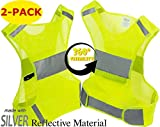 Mr Visibility Reflective Vest for Running or Cycling (2 Pack) XXL Size | Reflector Jackets with Pockets | High Visibility Safety Clothing for Bike, Walking, Runners | Security Gear for Women, Men