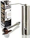 #10: Manual Coffee Grinder - With FREE Bonus – Ceramic Burr Grinder for Precision Brewing - Perfect Coffee Mill For Home And Traveling - Portable Stainless Steel Hand Bean Grinder by Eugenys