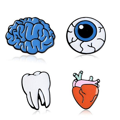 (4pcs/lot Cartoon Cute Brain Heart Eye Tooth Metal Brooch Pins Button Pins)