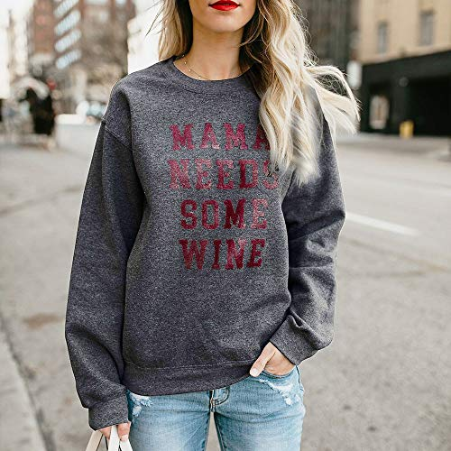 Mode Casual Manches De Automne shirt Femmes Longues Foncé Lâche Confortable Sweat Élégant Impression Chic Chaud Shirt Gris Blouse Col Vetement Tops Rond Sweat Adeshop Lettres AF8dqA
