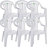 CrazyGadget Plastic Garden Low Back Chair Stackable Patio Outdoor Party Seat Chairs Picnic White Pack of 6