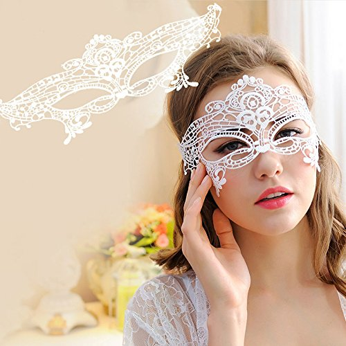 1 PC Masquerade Lace Mask Catwoman Halloween Black Cutout Prom Party Mask Accessories (White) ()